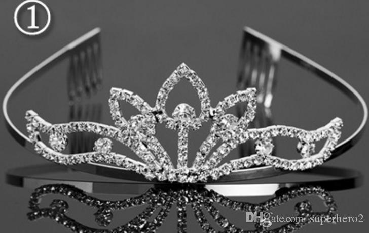 Mode Braut Hochzeit Kristall Krone Kamm Stirnband Kinder Mädchen Geburtstagsfeier Ereignisse Strass Tiara Haarschmuck 6 Arten Weihnachtsgeschenk