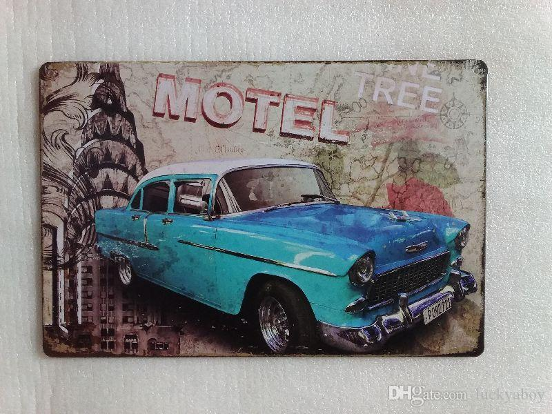 Motel Blue Car Nostalgic Vintage Rustic Home Decor Bar Pub Hotel Restaurant Coffee Shop home Decorative Metal Retro Tin Sign