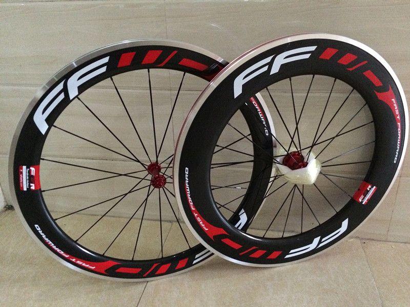 FFWD bike carbon wheels 60mm+88mm bicycle carbon wheels 3k glossy clincher 700C 23mm V brake ceramic bearing hubs china bike wheels