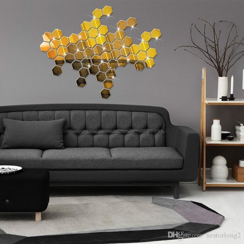 / 세트 3D 미러 벽 스티커 육각 비닐 이동식 벽 스티커 데칼 홈 장식 아트 DIY 8cm