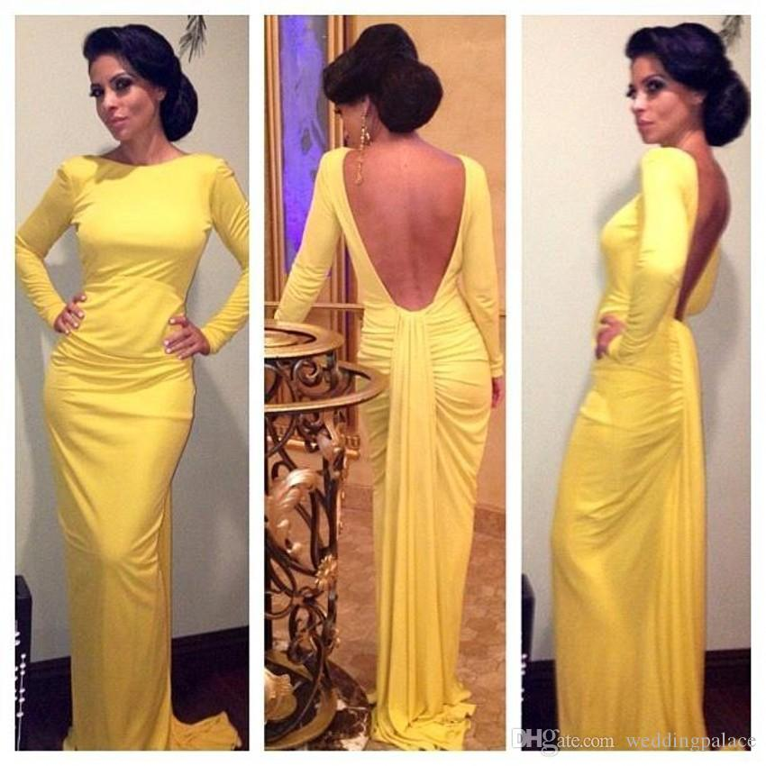 Hot Sale Sexy Long Sleeve Mermaid Evening Dresses Yellow Backless Chiffon Pleats Formal Evening Gowns Prom Dresses Robe De Soiree