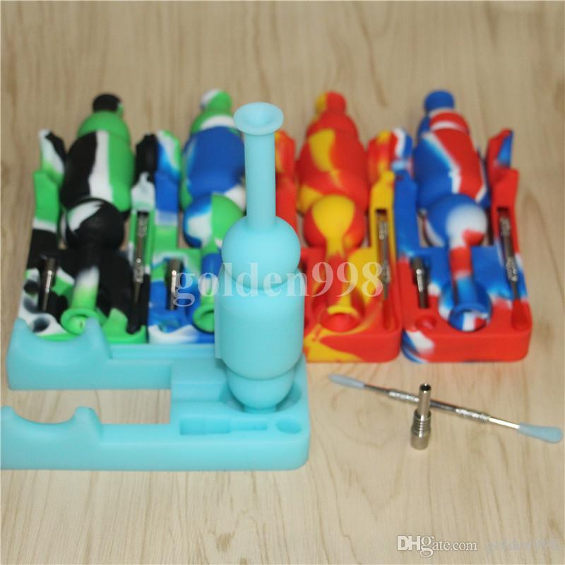 Fumar Silicon Nectar Collectores Kits con 10 mm GR2 Titanium Nail and Dabber Tool Mini Silicone Water Pipe Oil Rig Bong