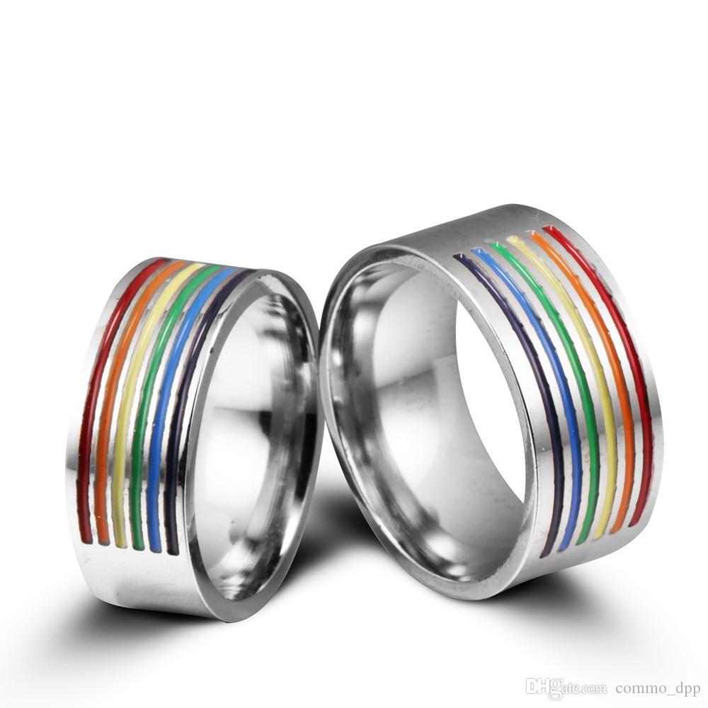 NOUVEAU ACIER INOXYLESS GAY RINGS RAINBOW COULEUR COULEUR HOMOSEXUEL PRIDE HAUTE QUALITÉ Bague en acier Titanium pour hommes Femmes Mode Bijoux en vrac