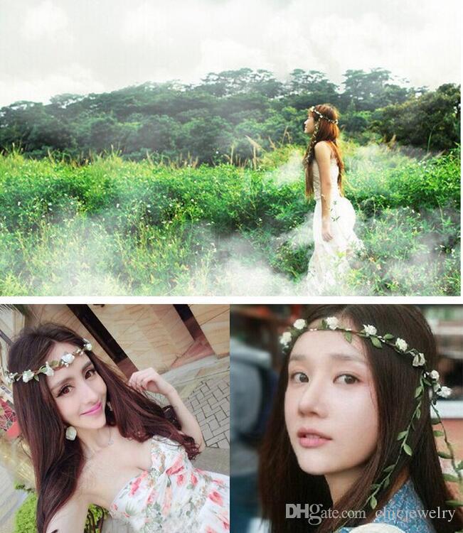 2019 Boho Headbands Flower Leaf Womens Bride Bohemian Flower Festival  Christmas Floral Garland Hair Bands Headwear Girl Beach Jewelry Accessories  From ... 38cb0f81c6c7