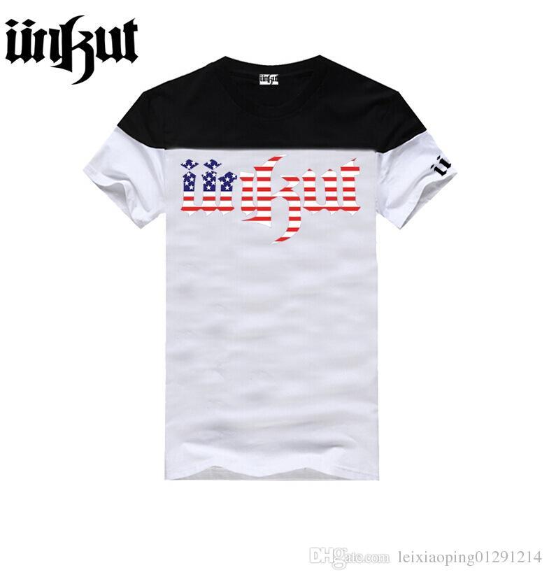 Marca de moda Unkut T Shirt Homens Hip Hop T Camisas Para Unisex 100% algodão T-Shirt de Manga Curta Tee 20 cor S-XXXL