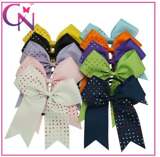 13 style available 4.5inch to 8inch Rainbow Rhinestone Keeper Hair Bow Hair accessories Girls Cheerleading Hair Bows