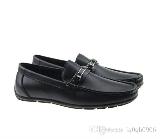 Top Quality Real Leather Cowhide Homens Casuais Sapatos Lux Designer Oxford Mocassin Dress Sapatos Zapatos Hombre 40-46
