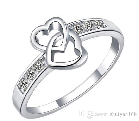 Sterling Silver Rings Hearts DHL Engagement Fingers Rings Fashion Zircon Double Heart Charm Gift Austrian CZ Crystal Beautiful Love Jewelry