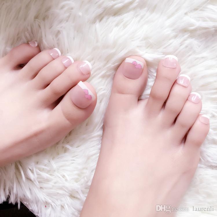 Popular Pure Color Polishing False Toe Nails Short Square Full Foot ...
