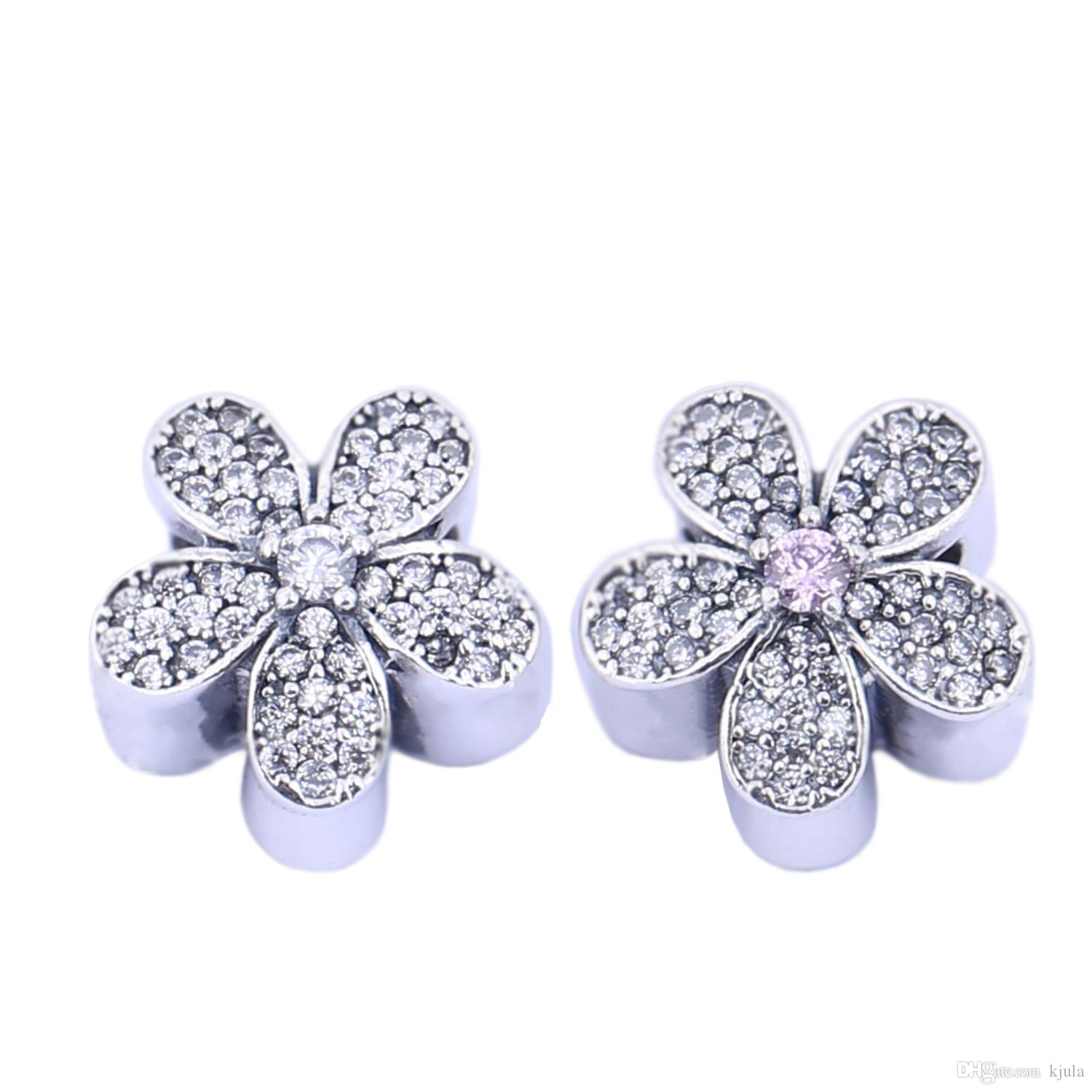 e0dbfa366 ... Dazzling Daisy Charm Made of Real 925 Sterling Silver With  Brilliant-cut Cubic Zirconia Stones Pandora Hoop Earrings ...