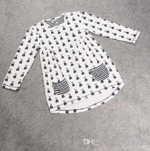 Girls Dress Legging Clothing Sets Spring Autumn Children Kids Baby Cotton Rabbit Long Sleeve Shirts Tees Striped Tights Pants Clothes