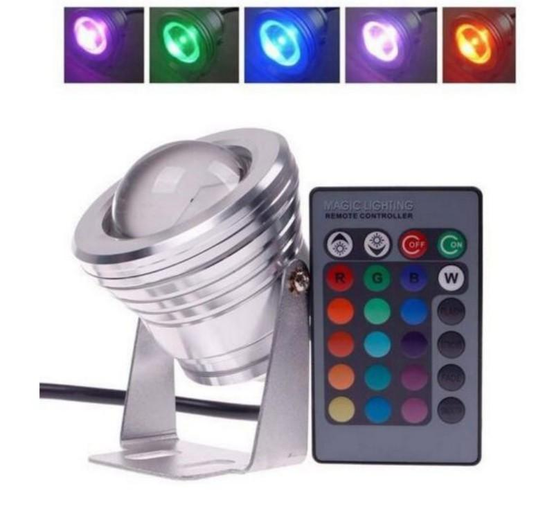 10W RGB Floodlight Light Underwater LED Flood Light Swimming Pond Pool Spot Lamp Outdoor Waterproof Lighting with Remote Control DC 12V MYY