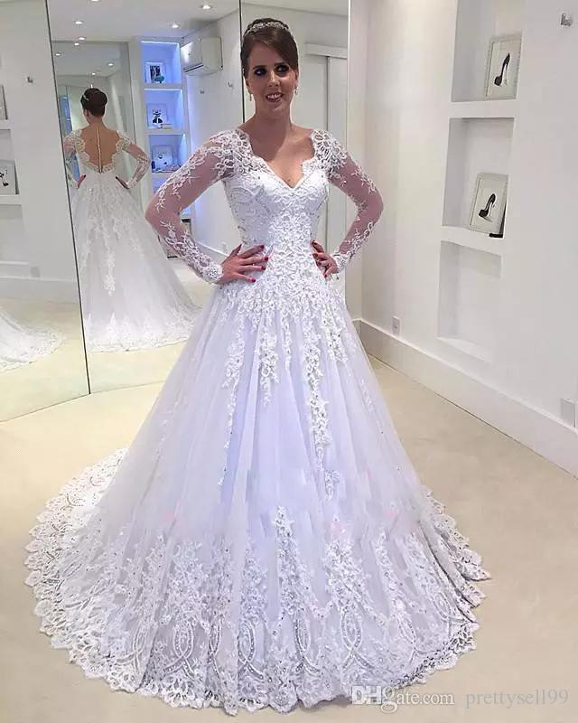 Vintage Lace аппликация Хрустальные свадебные платья 2019 Дешевые Плюс Размер Длинные рукава V шеи Покрытый Кнопка развертки поезд Свадебные платья