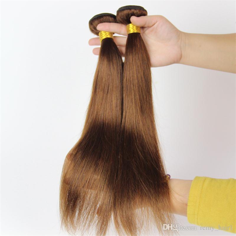 # 4 중간 갈색 인도 머리 Wefts 부드러운 스트레이트 인간의 머리카락 거래 7A 처리되지 않은 인도 인간의 머리카락 초콜릿 갈색 머리 짜기