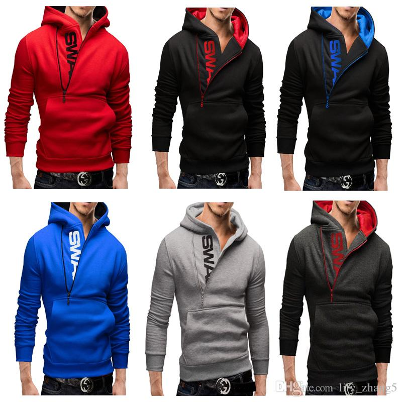 Men's Clothing Letters of bump color man fleece side zipper Hoodies & Sweatshirts Jacket Sweater Assassins creed Size M-6XL