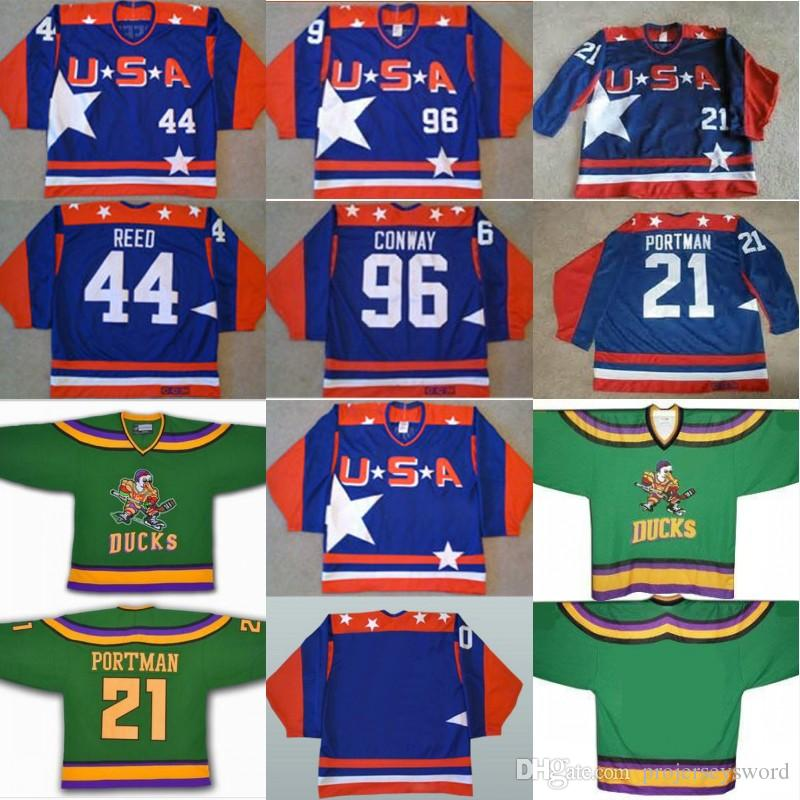 9d1bd8d88 2019 Mighty Ducks D2 Movie Team USA Hockey Jersey 21 Dean Portman 44 Fulton  Reed 96 Charlie Conway Men S 100% Stitched Embroidery Logos Jerseys From ...