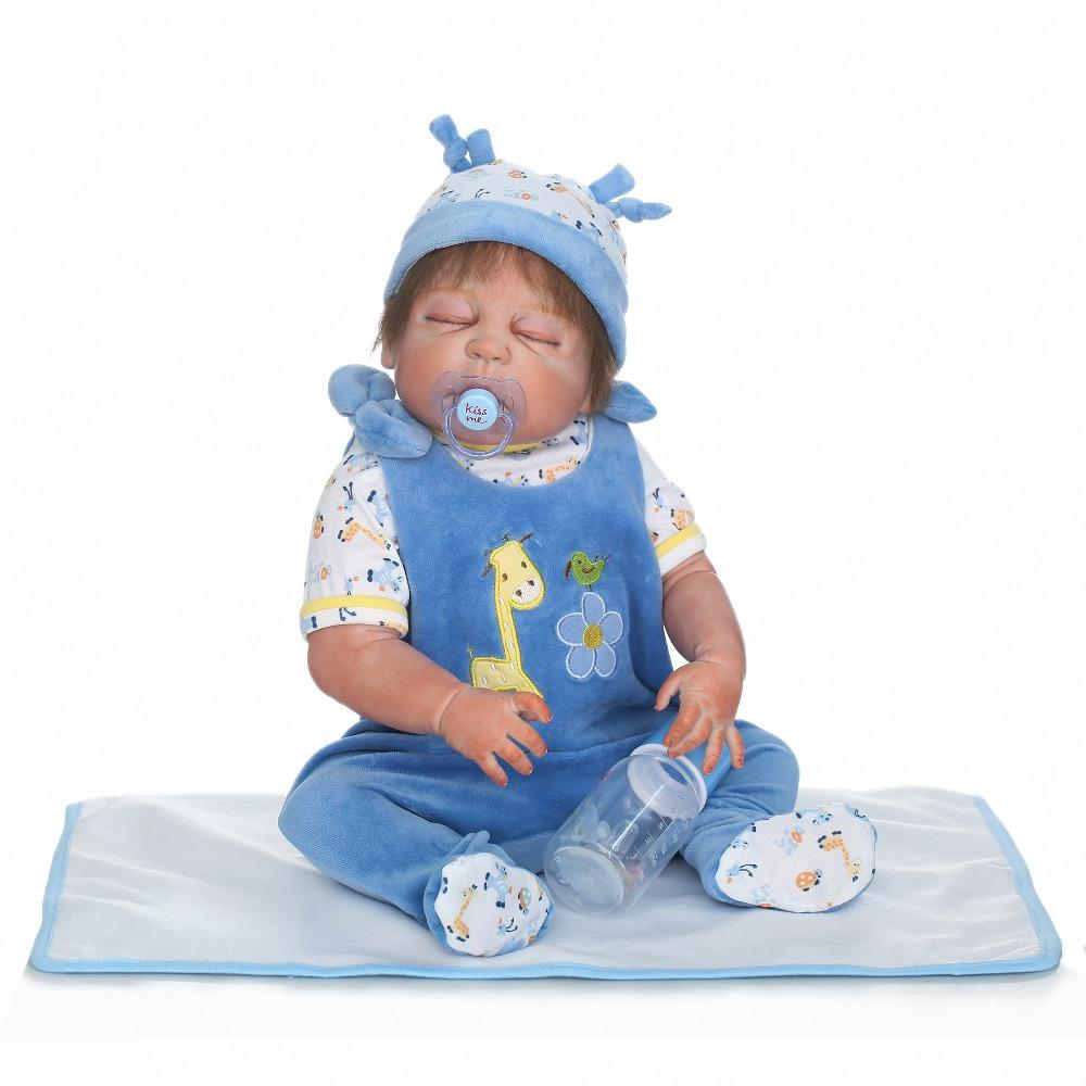 55cm Full Silicone Body Reborn Baby Boy Sleeping Doll Toys Realistic ...