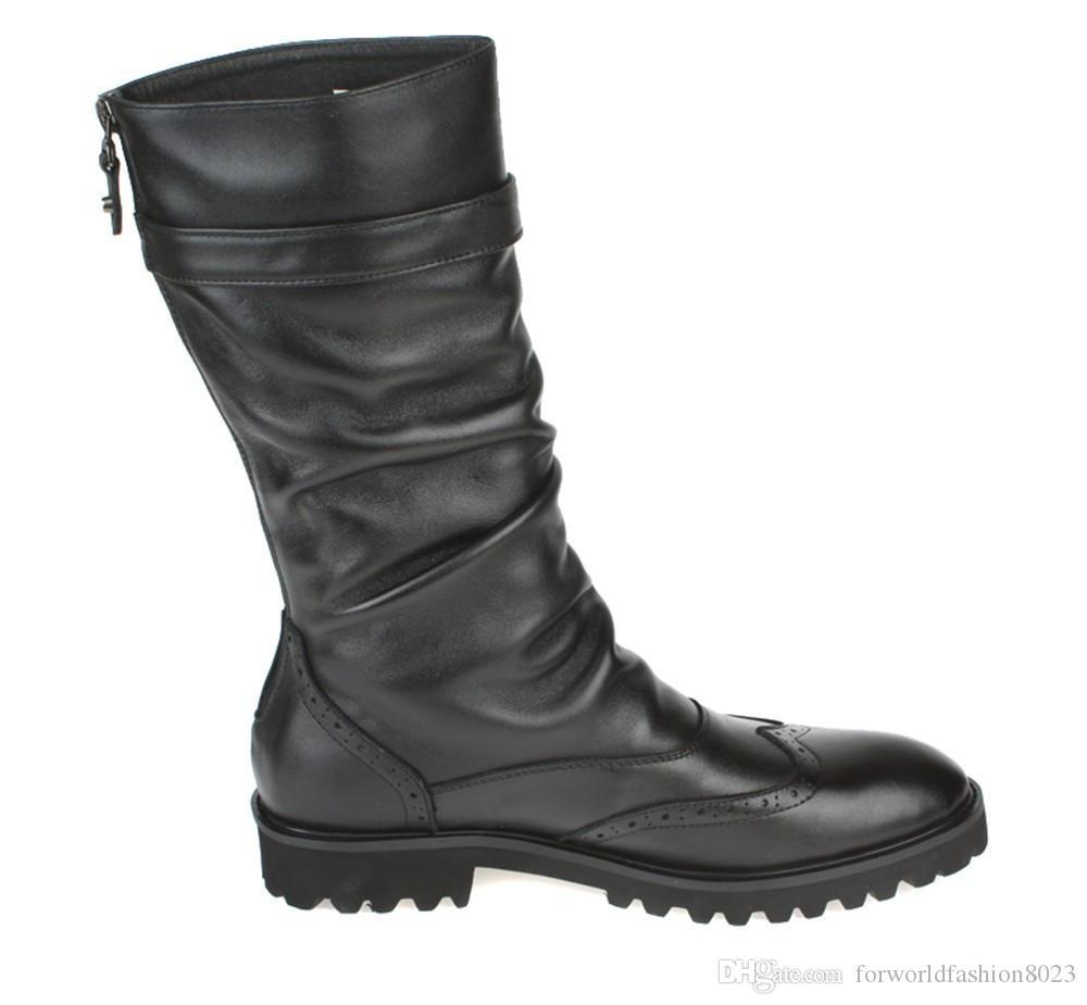 Mode britischen schwarzen Winter Herren Stiefel Echtes Leder hohe Stiefel Herren Motorradstiefel mit Schnalle