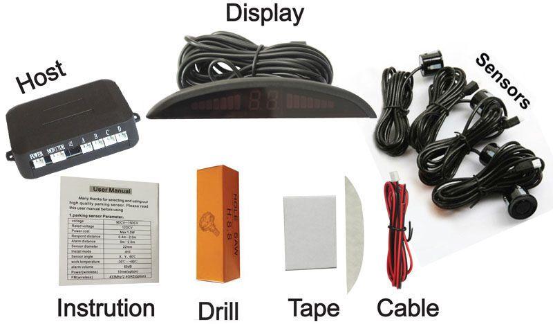 LED Park Sensörü PZ302 PZ303 PZ304 Araba Hilal Beeper Geri Radar Dört Probları 4 Sensörler Sayısal LED Dijital Ekran