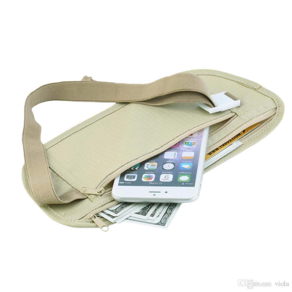 In stock Women wallets Travel Security Money Ticket Passport Holder waist packs Belt purse bag