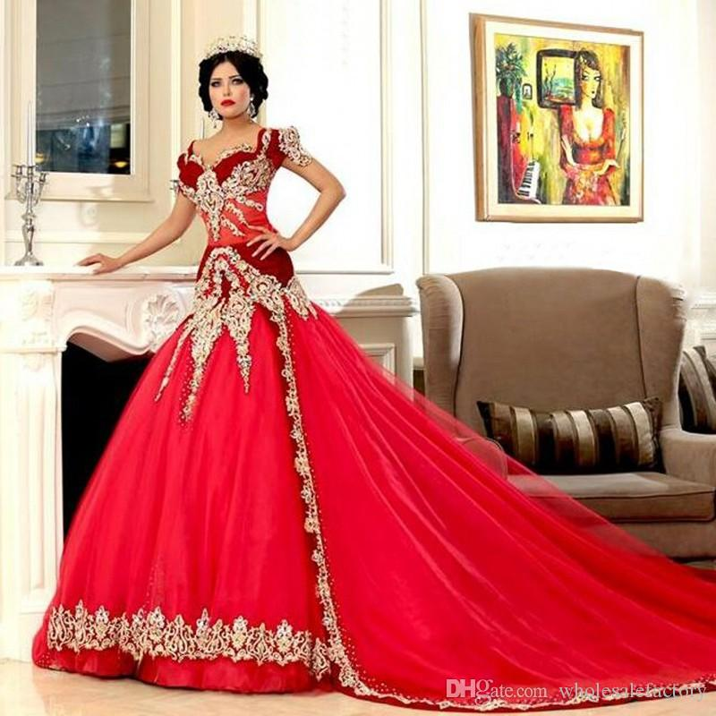 Middle East Arabic Red Mermaid Cheap Wedding Dresses Online with Golden Lace Appliques Cap Sleeve Sweetheart Wedding Gowns Sale 2018