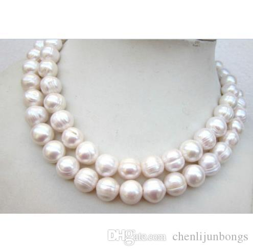 35 inch Huge AAA 11-13MM south sea white pearl necklace 14K Gold clasp