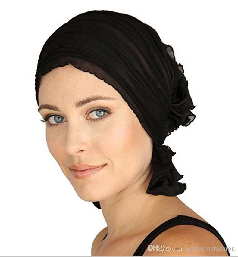 Women S Ruffle Chemo Hat Beanie Scarf Turban Headwear For Cancer