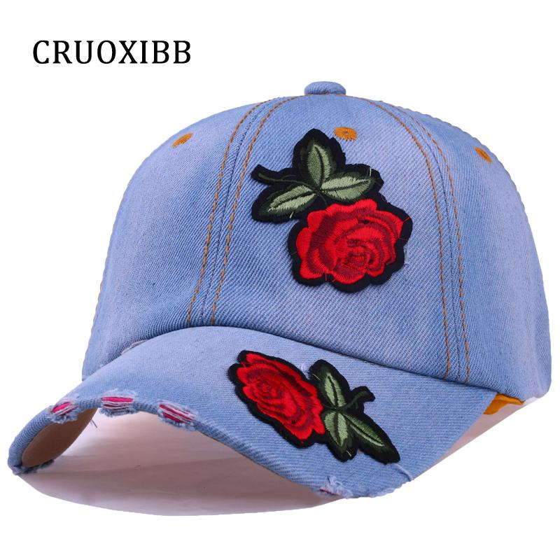 aaeae657046 Wholesale- CRUOXIBB New Brand Cap Women Baseball Cap Red Rose Flower ...