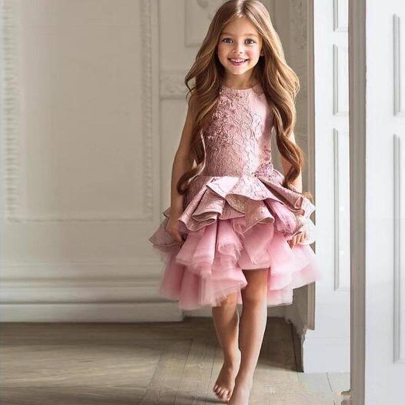 9401b41817eca 2017 Country Style Vintage Flowergirl Dresses Jewel Neck Sleeveless Ruffles  Lace Tulle Asymmetrical Flower Girl Dresses for Wedding