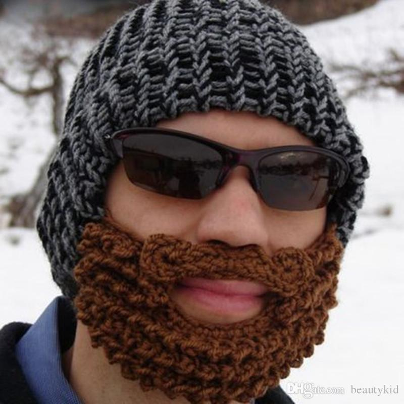 7881306e8f4 Warm Winter Striped Knit Ski Face Mask Beanie Crochet Beard Hats For Man  DDB002 Newborn Hats Knit Beanie From Beautykid