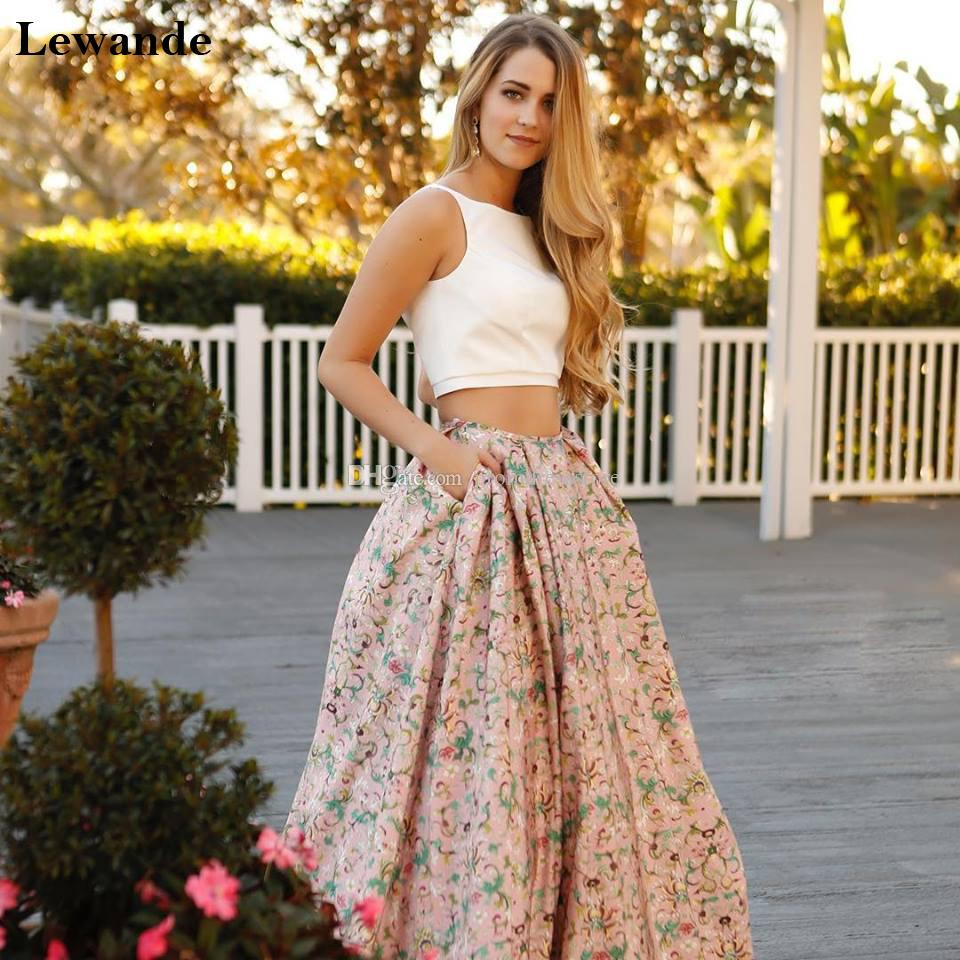 Elegant Floral Print Two Piece Prom Homecoming Dress Long Pageant ...