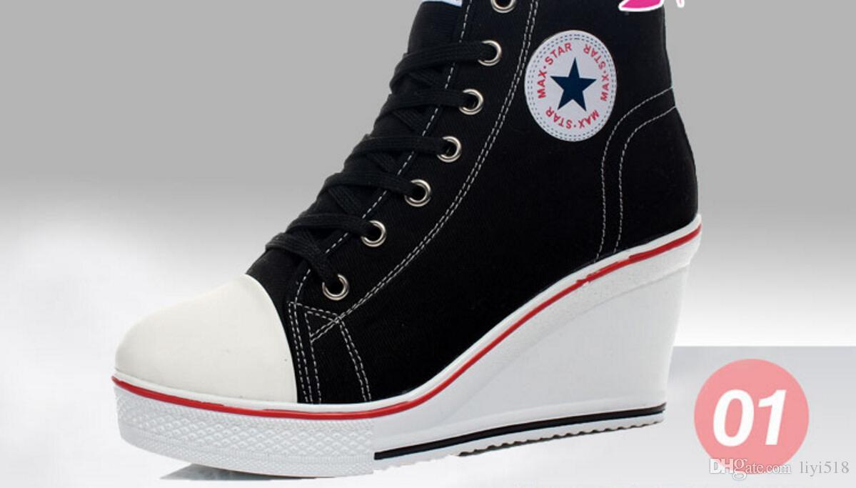 2017 клинья значок высокой шнуровкой свободного покроя лифт обувь Женские ботинки холстины Высокий Верх клин кроссовки женщины спортивная обувь