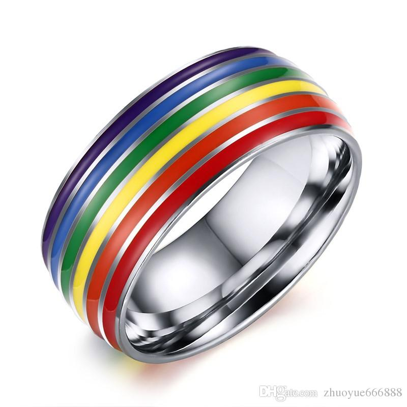 image is wedding s ring titanium womens steel men loading band rings promise engagement itm rainbow