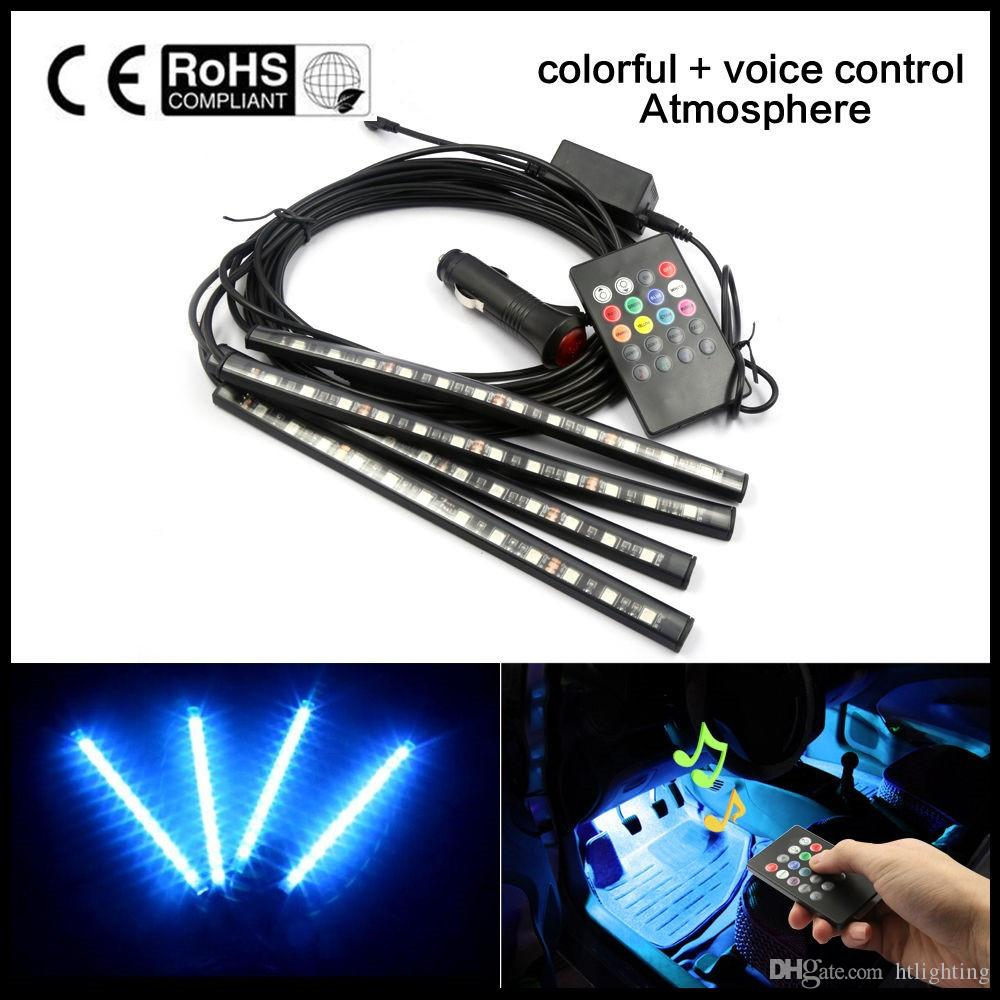 4 Strips LED Car Interior Atmosphere USB Light Decor Lamps 12V Footwell Blue UK