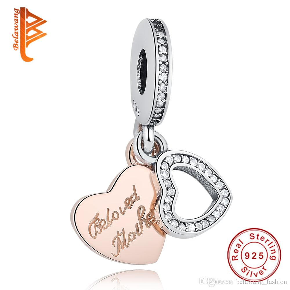 68ab585ef BELAWANG 925 Sterling Silver Charm Beads Beloved Mother Rose Gold Heart Pendant  fit Pandora Bracelet DIY Jewelry For Mother's Day Gift