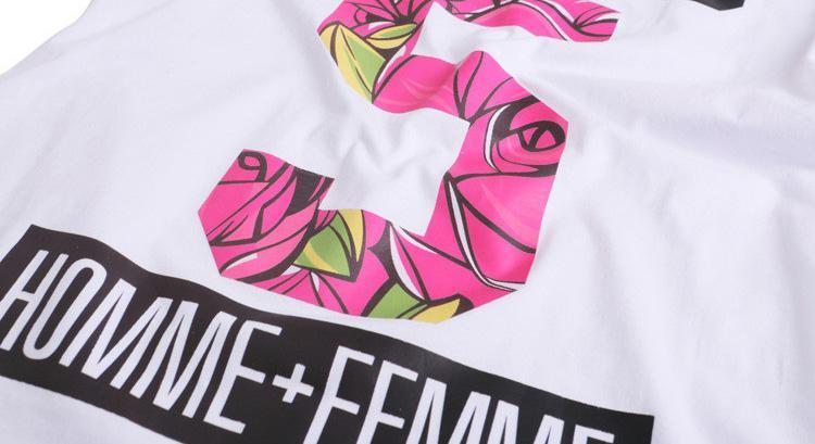 Europe New 2017 Summer Homme Femme NO 5 Fashion High quality Side Zipper Tee T-Shirts Men Women Flower Floral Print Short Sleeve Tshirt
