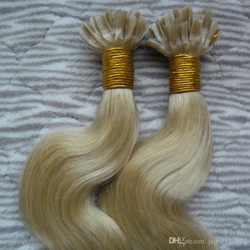 Blonde human hair extensions keratin 100s keratin hair extension u tip extensions 100g body wave pre bonded human hair extensions