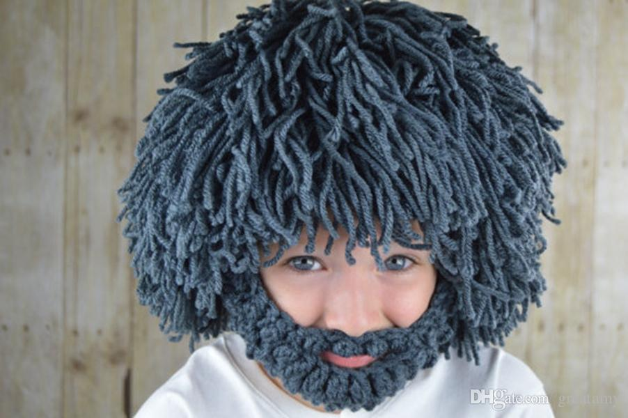 Daren Tide Brand Personality Beard Hair Tassels Hand Knitted Wool Hat Autumn And Winter Warm Hat Funny Cool Beanies