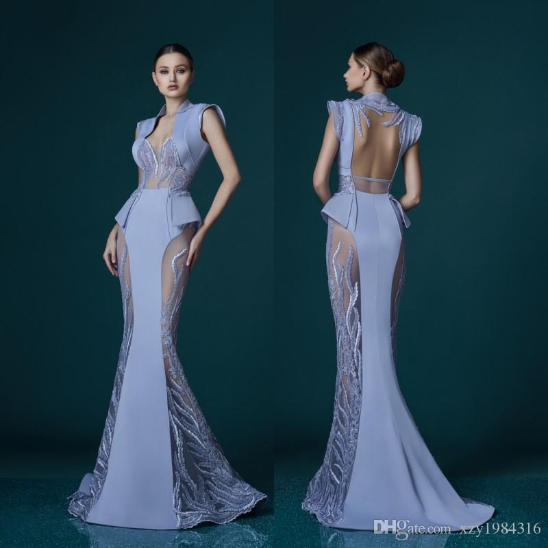 Lavender Mermaid See Through Evening Dress Art Deco Inspired Neck ...