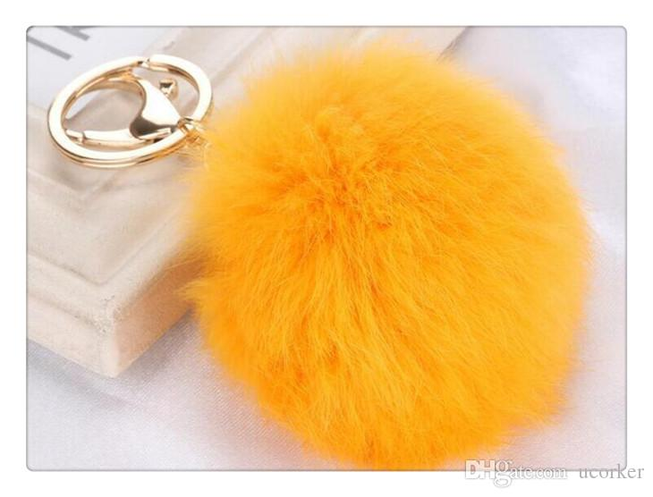 2017 Fashion Rabbit Soft Fur Ball Keychain Fur Ball Lovely Gold Metal Key Chains Ball Pom Poms Plush Keychain Car Keyring Accessories