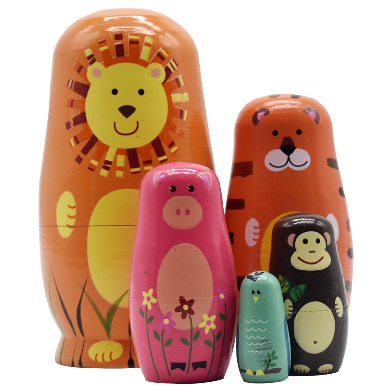 5PCS Wooden Matryoshka Doll Animals Modle Wooden Russian Nesting Dolls Gift Matreshka Handmade Crafts for Kid gifts table game
