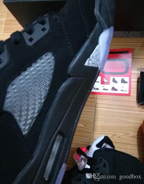 Atacado preto metálico 5s top qualidade metálico preto og ouro medalha basquete sapatos homens tamanho com caixa