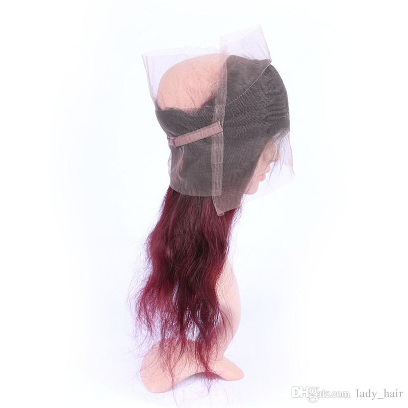 # 1B / 99J 3Bundles와 함께 Ombre 360 레이스 클로즈업 Dark Roots Wine 레드 브라질 바디 웨이브 Hair Wefts with 360 Band Full 레이스 정면