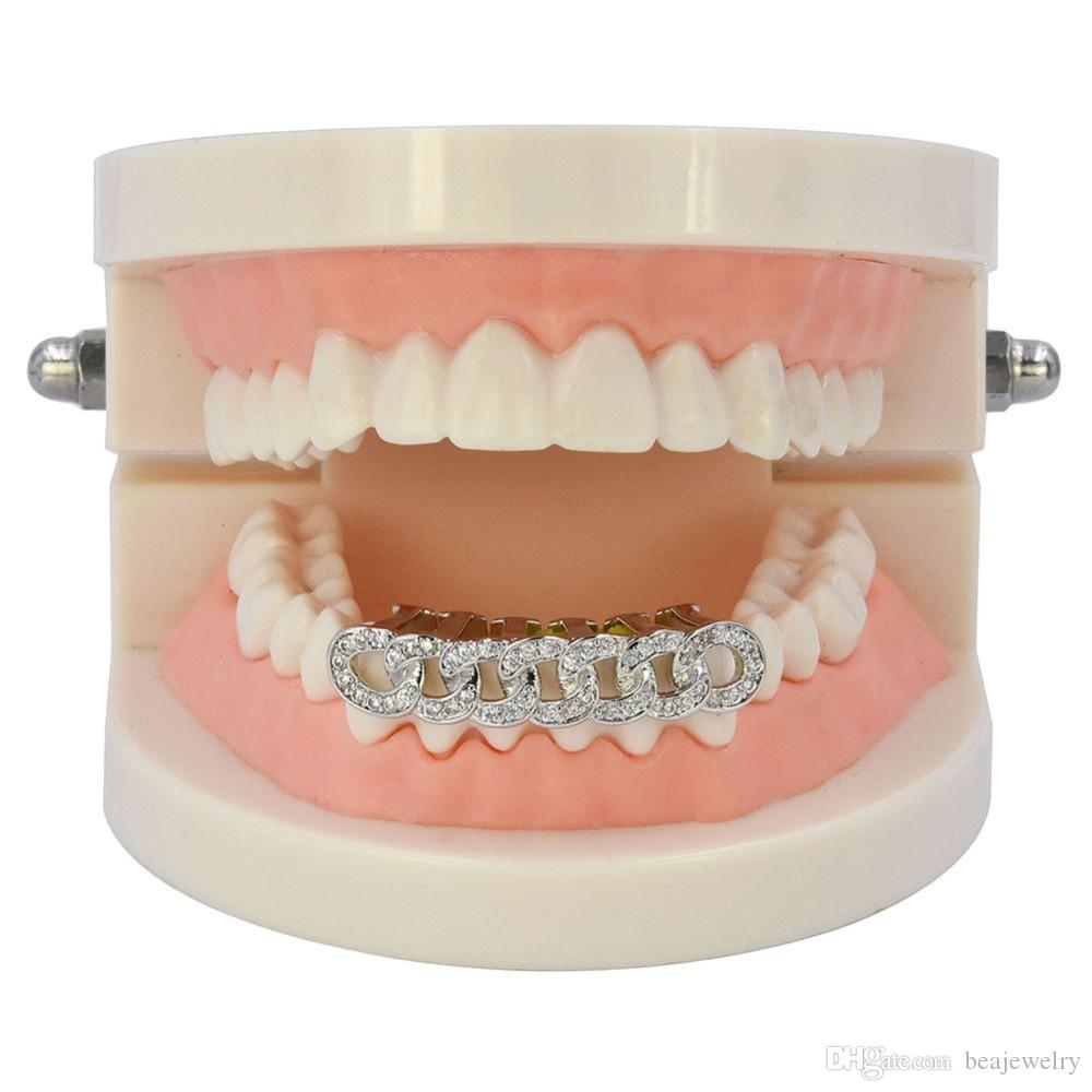 Hip Hop Cuban Link Grillz Gold Silver Bottom Teeth Grills Flooded CZ Rhinestone Tooth Grill Party Jewelry