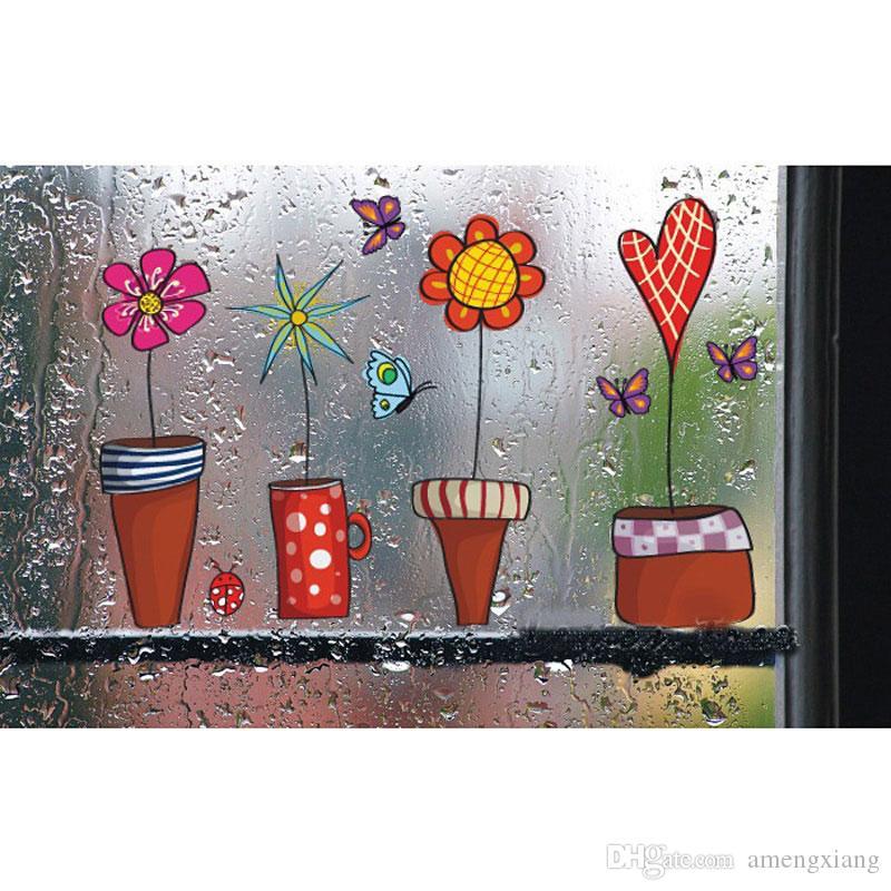 2017 Cute Flower Wall Sticker Cucina Vetrofania Butterfies Wall ...