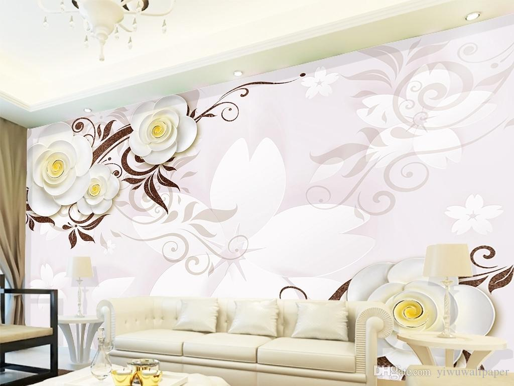 Stereo white flowers relief TV background wall mural 3d wallpaper 3d wall papers for tv backdrop