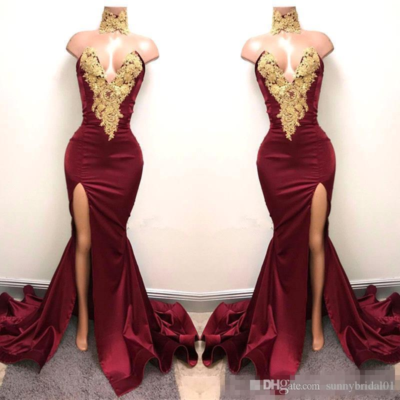 Real Image Burgundy Satin Mermaid Prom Party Dresses 2017 With God Lace Sexy Front Split Plus Size Formal Party For Evening Gowns Vestidos