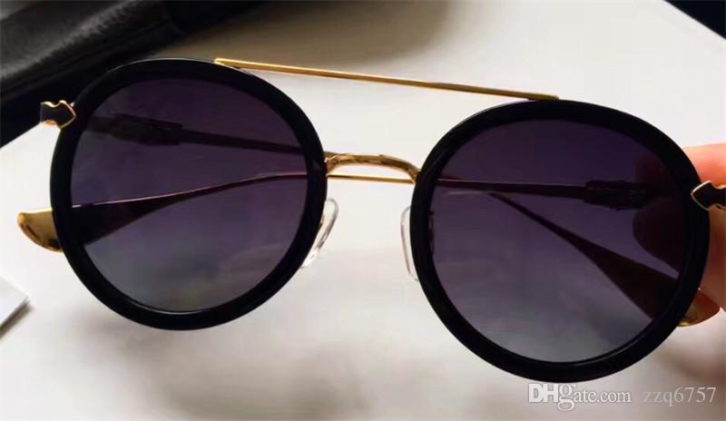 새로운 패션 크롬 선글라스 브랜드 디자이너 둥근 접시 복고풍 더블 빔 안경 고급 실버 액세서리 안티 - UV 렌즈 원래 상자