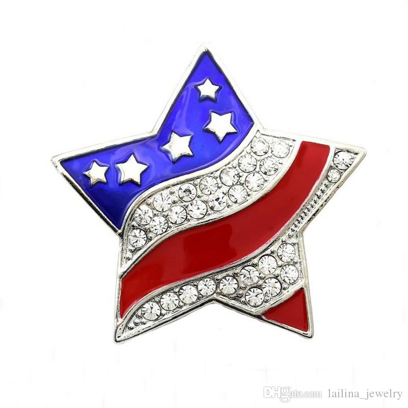 Patriotic Star Brooch American USA Flag Pin Independence Day 4th of July Charm