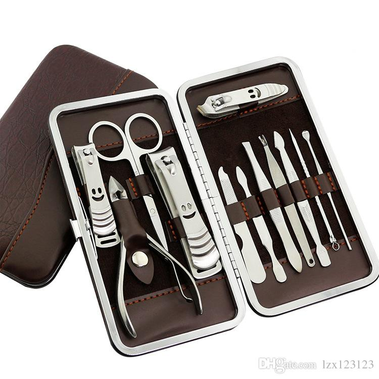 Kit de manicura de 12 piezas de acero inoxidable Nail Clipper Pusher File Tijeras pinzas Nail Kit de herramientas